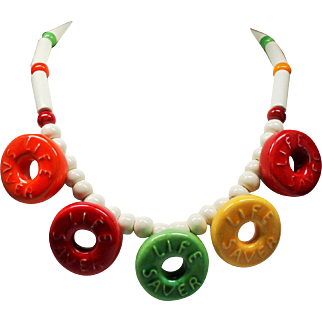 Vintage Flying Colors Ceramic Life Savers Necklace