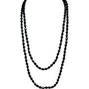 Vintage French Jet Faceted Bead Long Flapper Length Necklace
