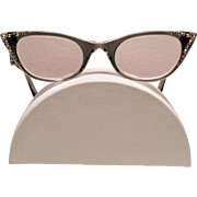 Vintage Frame France Rhinestone Cat Eyeglasses Frames