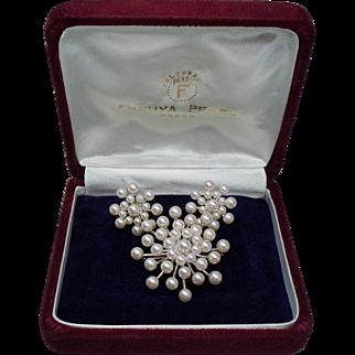 Vintage Furuya Japanese Cultured Pearl Sterling Brooch / Pendant & Earrings Set