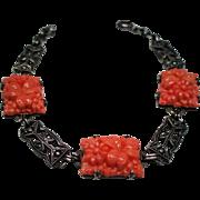 Vintage Art Deco Faux Coral Molded Glass Flowers Sterling Marcasite Bracelet
