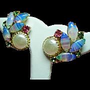 Vintage Faux Mabe Pearl Striped Givre Art Glass Rhinestone Earrings