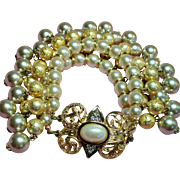 Vintage Double Row Drippy Faux Pearls Bauble Bracelet Large Ornate Clasp