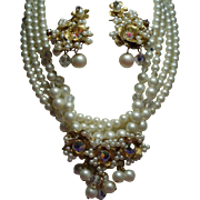 Vintage Multiple Strand Faux Pearls Crystals Drippy Cluster Necklace Earrings Demi Parure