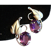 Vintage Gold Filled Loren Sim Co Amethyst Glass Earrings