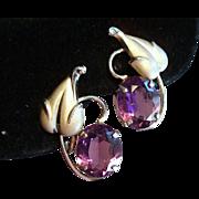 Vintage Gold Filled Loren Sim Co Amethyst Glass Earrings