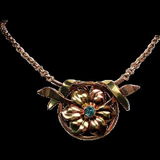 Vintage Retro Modern Harry Bick & Sons Gold Filled Natural Blue Zircon Gemstone Necklace
