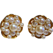 Vintage Hand Wired Cultured Pearl Cluster Gold Filled Earrings