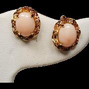 Vintage Sorrento Angel Skin Coral Cabochon Gold Filled Screw Back Earrings