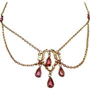 Antique Edwardian Festoon Necklace Faceted Pink Crystal Droplets