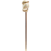 Antique Edwardian River Pearl Gold Filled Stick Pin