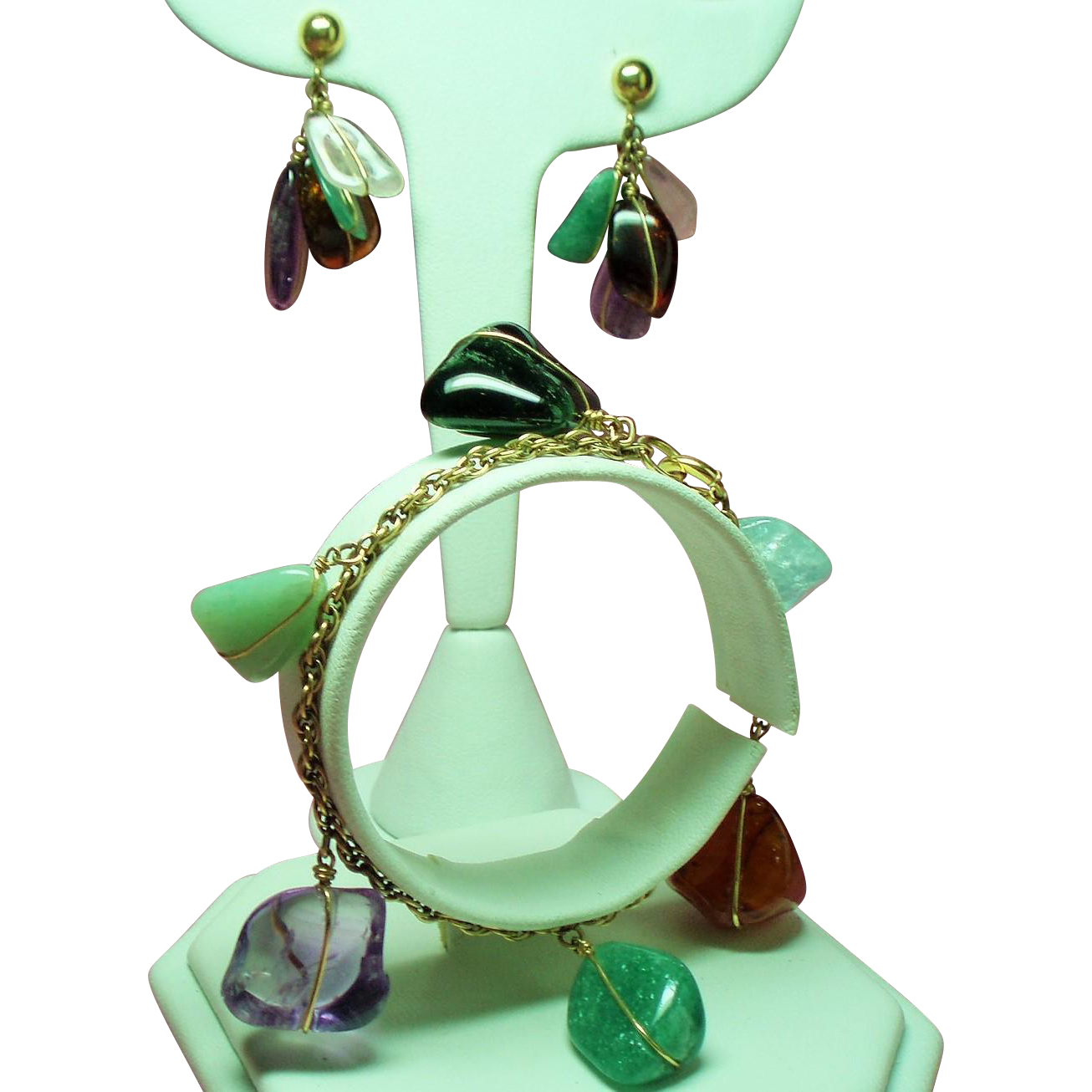 Vintage Multiple Colored Tumbled Gemstones Gold Filled Bracelet Drop Earrings Demi Parure
