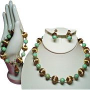 Vintage Marbled Turquoise Glass & Gold Filled Fluted Bead Necklace Bracelet Drop Earrings Set