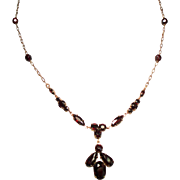 Vintage Faceted Garnet Glass Pendant Necklace