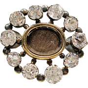 Antique Georgian Woven Hair Gold Silver Memorial Brooch Faceted Paste Stones