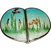 Antique Japanese Ginbari Cloisonne Enamel Iris's Heart Belt Buckle