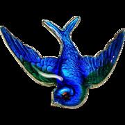 Vintage Guilloche Enamel Blue Bird Swallow Petite Sterling Pin