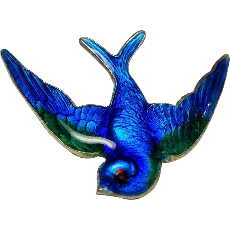 Vintage Guilloche Enamel Blue Bird Swallow Petite Sterling Pin