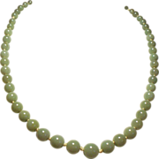 Vintage Chinese Jade Graduated Bead Matinee Length Strand Necklace