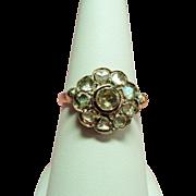 Antique Georgian Rose Cut Diamond Cluster Silver & 14K Ring