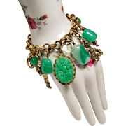 Vintage Asian Figural Molded Jade Green Glass Bead Charm Bracelet