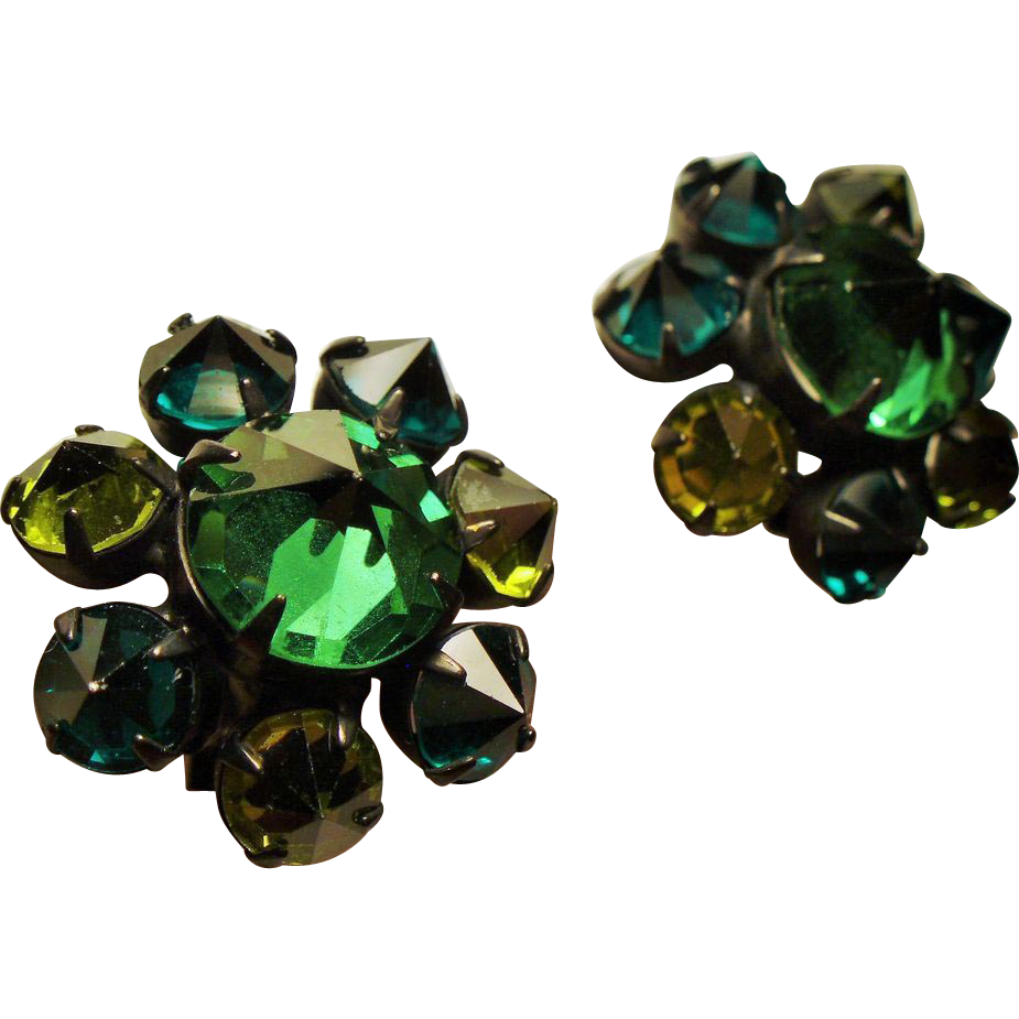 Vintage Inverted Faceted Green Glass Stone Cluster Japanned Earrings