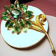 Vintage Open Back Green Givre Stone Huge Flower Brooch
