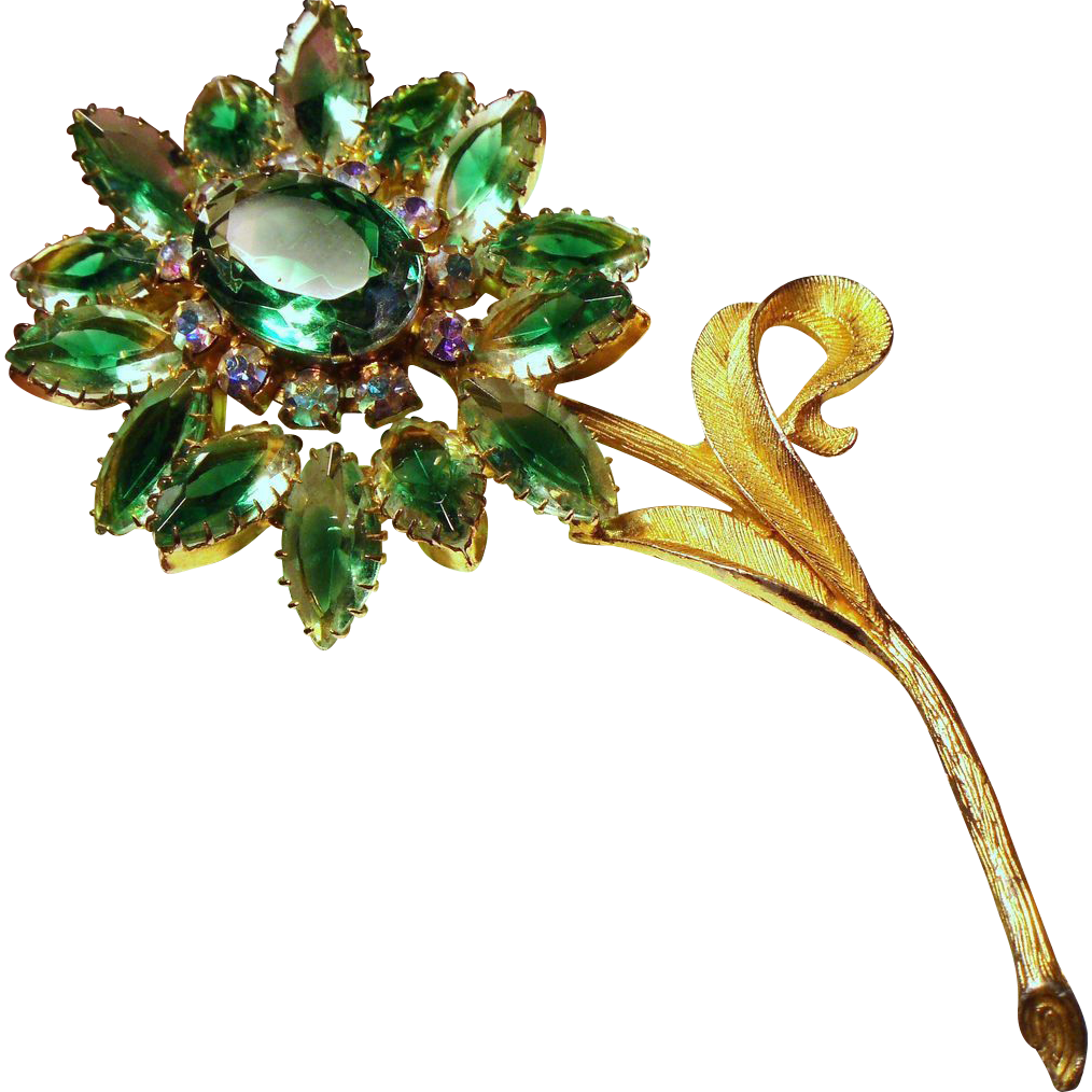 Vintage Open Back Green Givre Stone Huge Flower Brooch