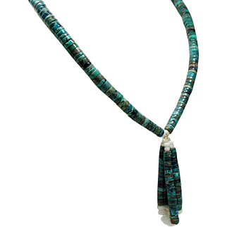 Vintage Green Turquoise Jacla Squaw Wrap Long Necklace