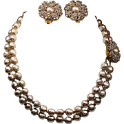 Vintage Miriam Haskell Faux Pearl Chaton Double Strand Choker Necklace Earrings Demi Parure