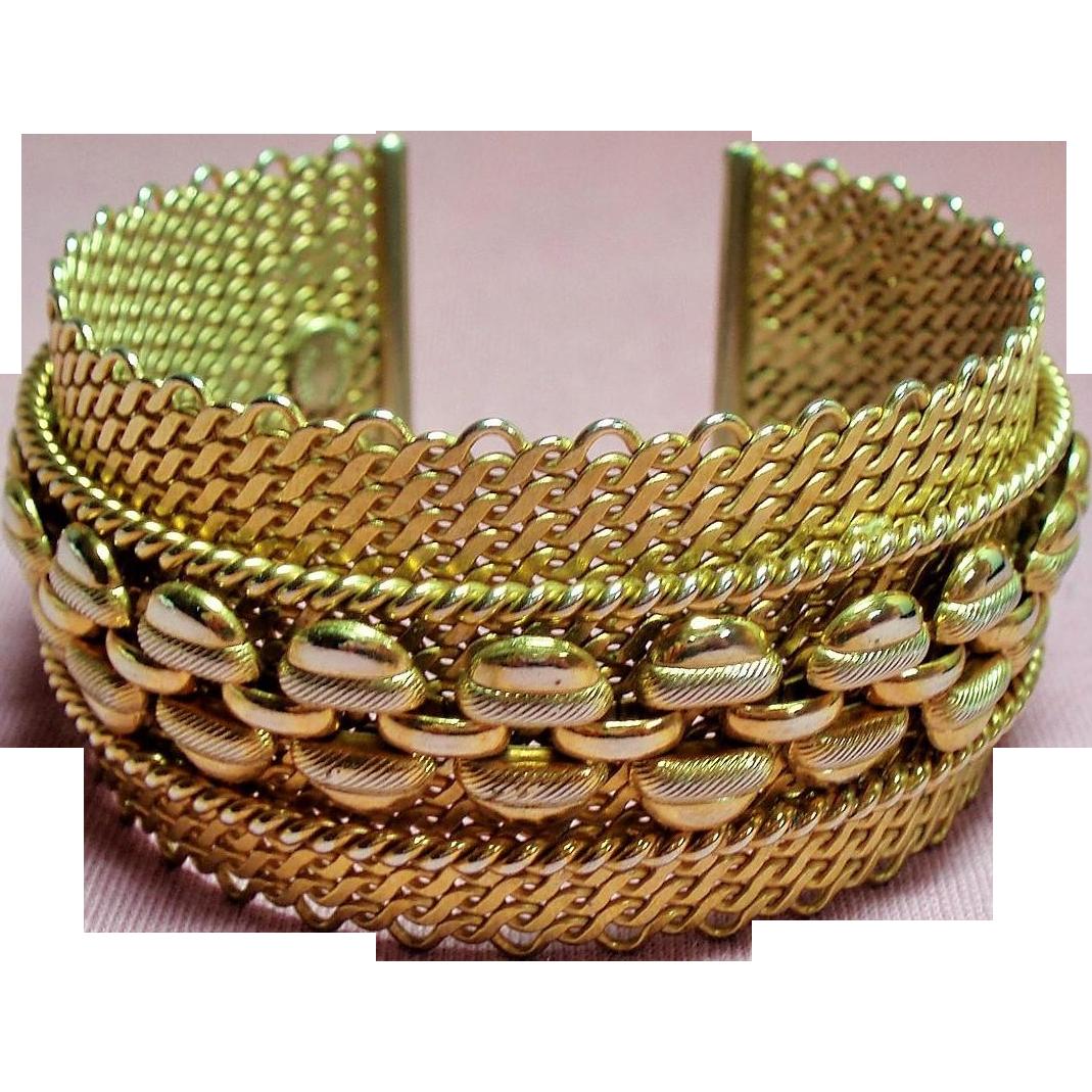 Vintage Hattie Carnegie Mesh Cuff Bracelet