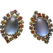 Vintage Huge Moonglow & Multiple Colored Rhinestone Earrings.