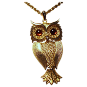 Vintage Huge Owl Glass Cabochon Eyes Pendant Long Necklace