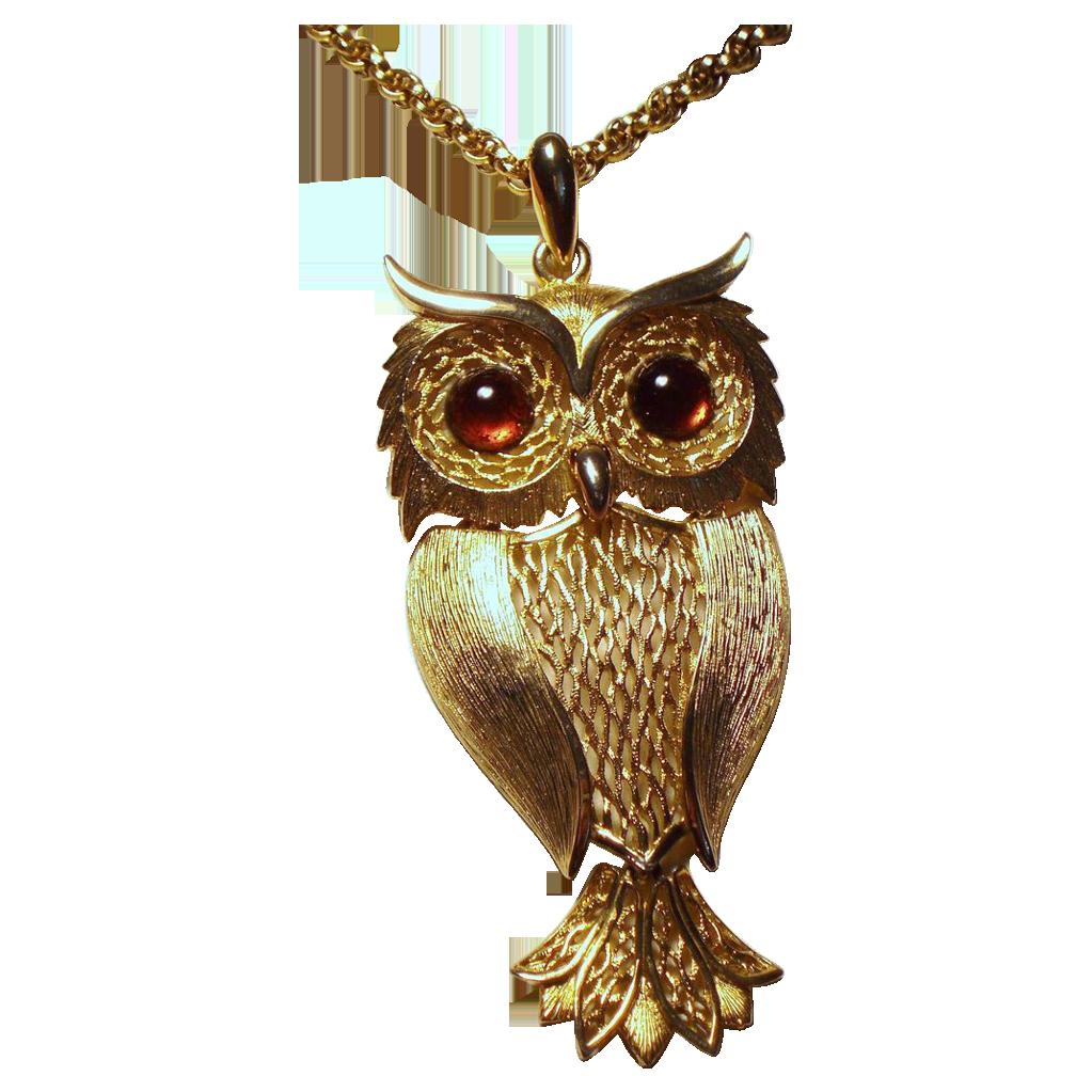 Vintage Huge Owl Glass Cabochon Eyes Pendant Long Necklace