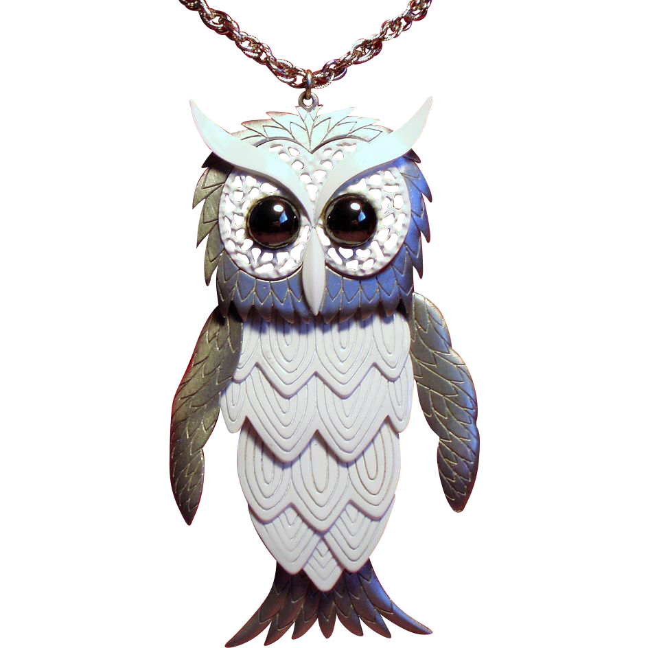 Vintage Enormous Owl Hinged Pendant Necklace