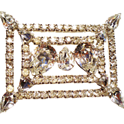 Vintage Exceptional Huge Pear Rhinestone Rectangular Brooch