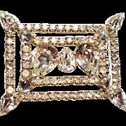 Vintage Exceptional Huge Pear Rhinestone Rectangular Brooch