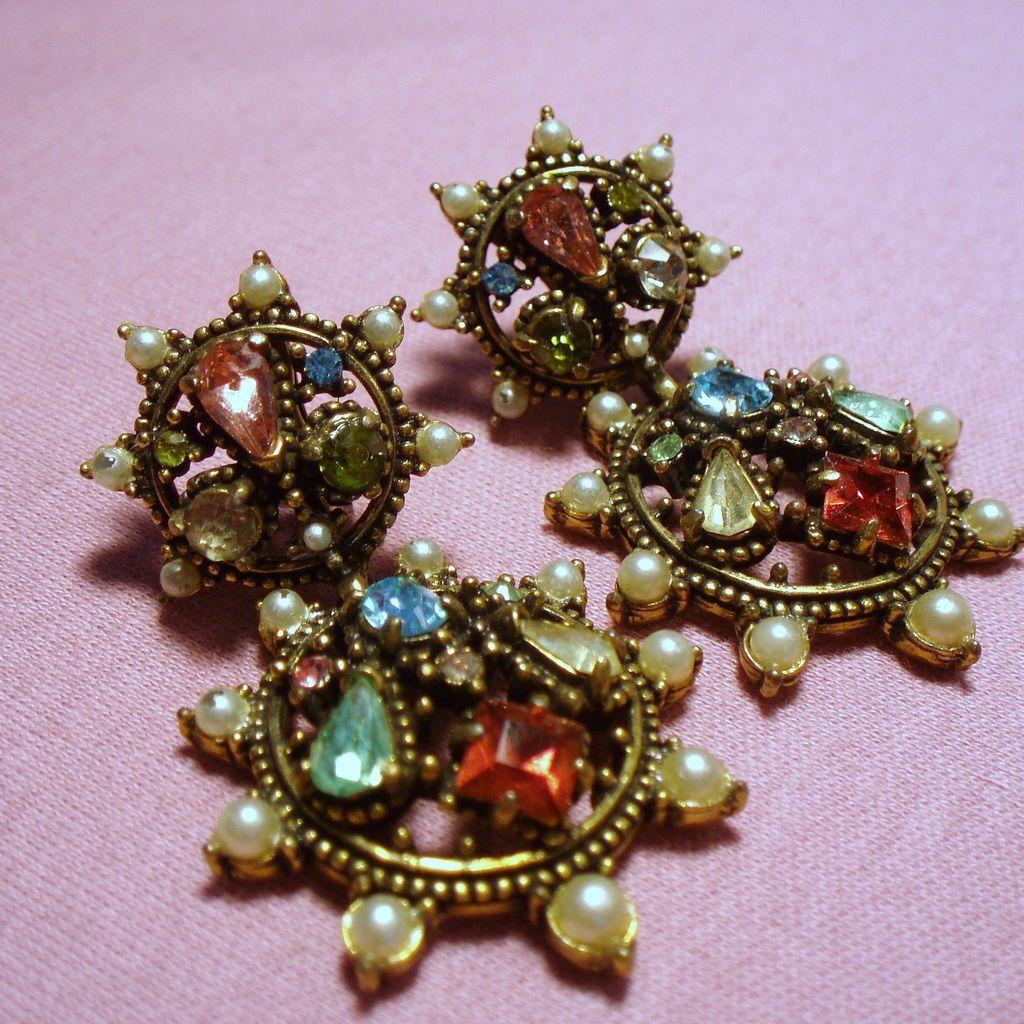 Vintage Hollycraft Rhinestone Amp Faux Pearl Drop Earrings