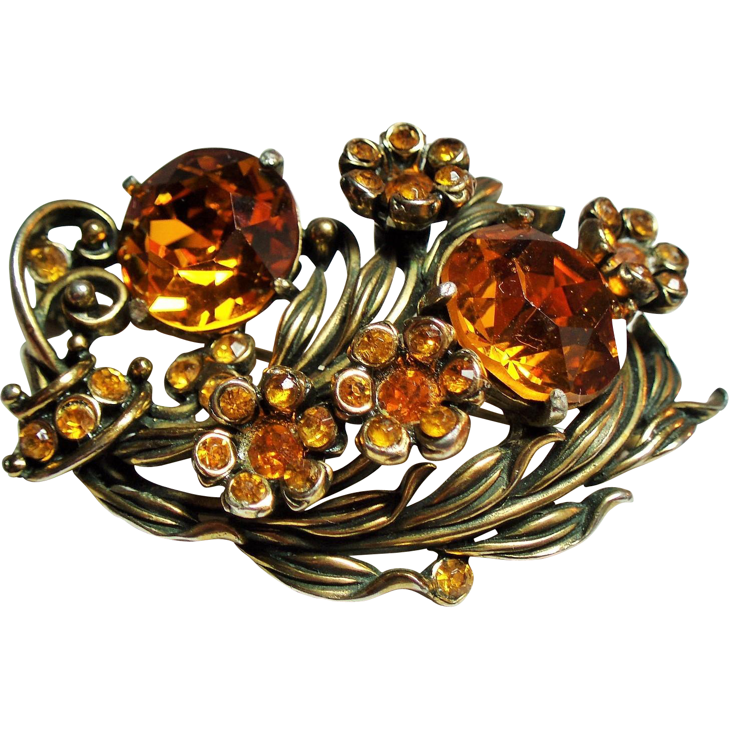 Vintage Hollycraft Large Golden Topaz Rhinestone Harvest Bouquet Brooch