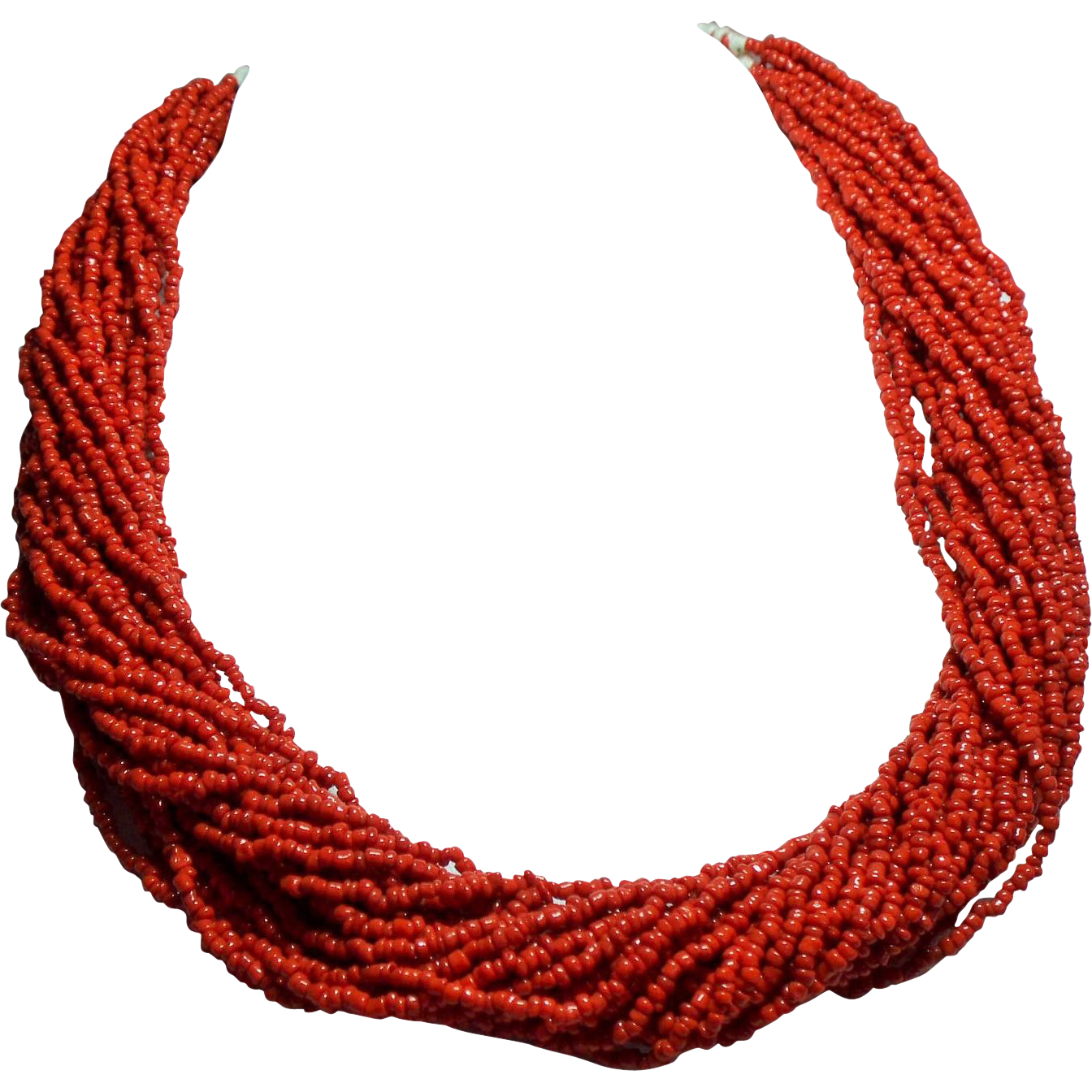 Vintage Coral Seed Bead Multiple Strand Torsade Necklace Hand Woven Closure