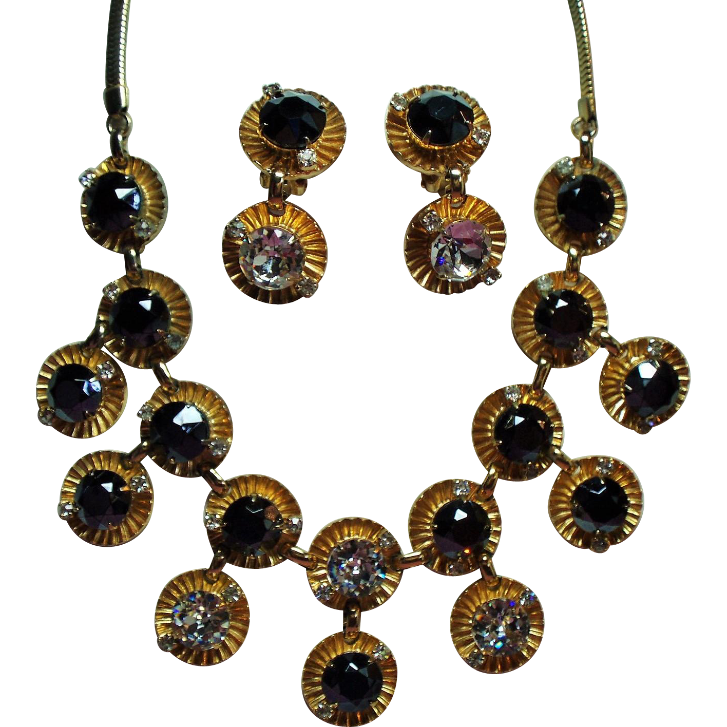 Vintage Hobe Black Diamond Rhinestone Huge Crystals Drop Necklace Earrings Demi Parure
