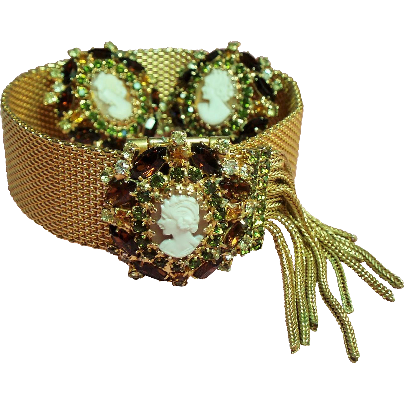 Vintage Hobe Victorian Revival Cameo Rhinestone Slide Tassel Bracelet Earrings Demi Parure