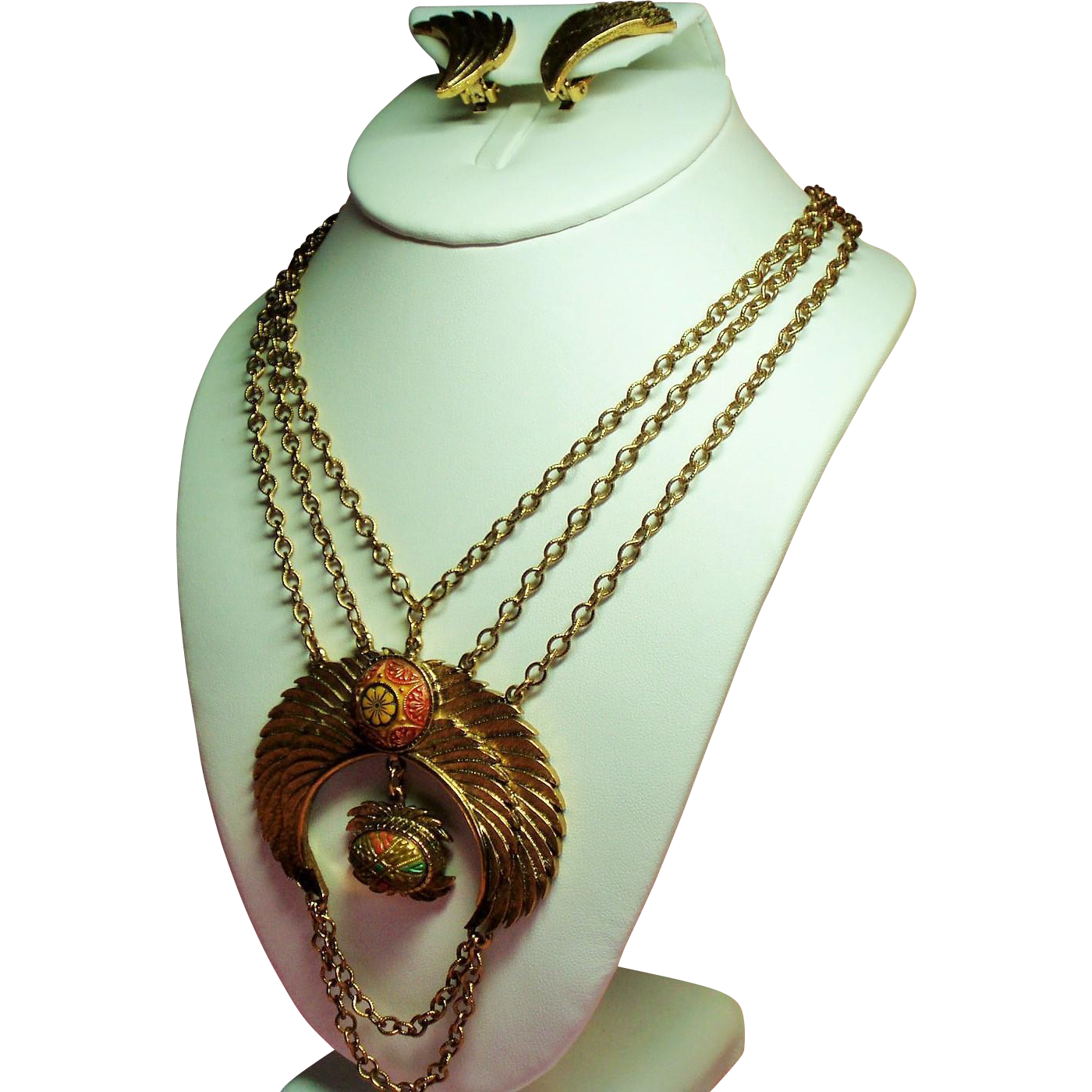 Vintage Hobe Egyptian Revival Moroccan Matrix Huge Swag Necklace Earrings Demi Parure