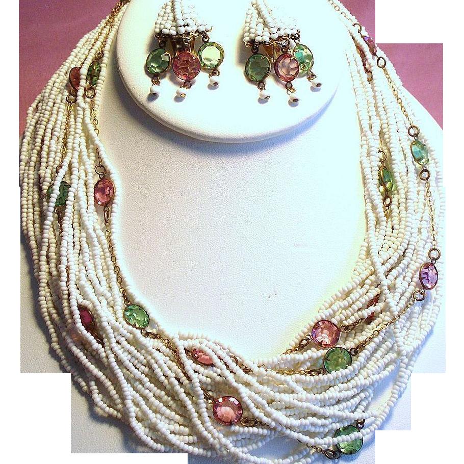 Vintage Hobe Seed Bead Open Back Crystal Torsade Necklace Drippy Earrings Demi Parure