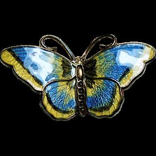 Vintage Hroar Prydz Norway Blue Yellow Enamel Sterling Butterfly