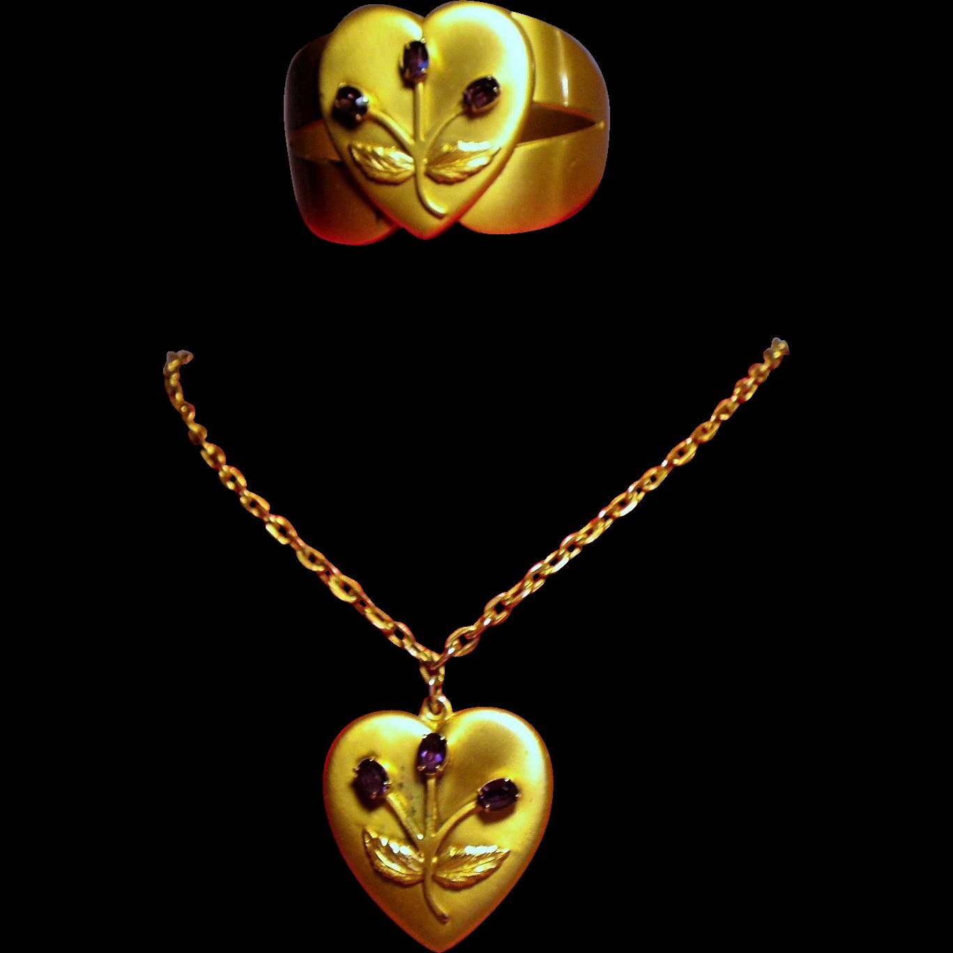 Vintage Heart Pendant Necklace Clamper Bracelet Amethyst Rhinestones Demi Parure
