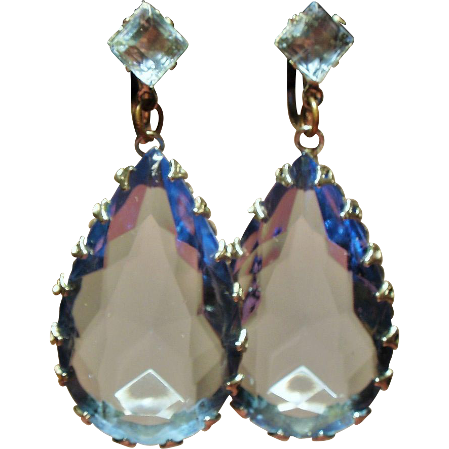 Vintage Large Icy Blue Pear Shape Faceted Glass Stone Drop Earrings