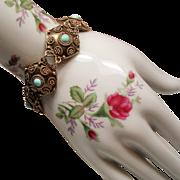 Vintage Israel Persian Turquoise Sterling Gilt Bracelet