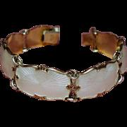 Vintage Ivar Holth Norway White Guilloche Enamel Sterling Bracelet