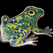Vintage JF Mexico Sterling Enamel Frog Brooch